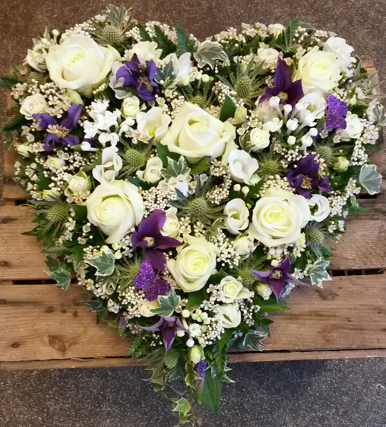 Funeral flowers page 3 fleurt in monkseaton purple white heart funeral flowers izmirmasajfo Images